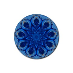 Blue Blossom Mandala Rubber Coaster (round)  by designworld65