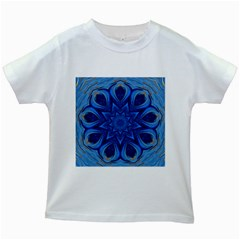 Blue Blossom Mandala Kids White T Shirts by designworld65