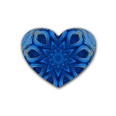 Blue Blossom Mandala Heart Coaster (4 Pack)  by designworld65