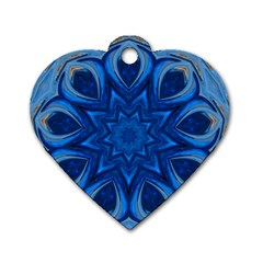 Blue Blossom Mandala Dog Tag Heart (two Sides) by designworld65
