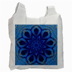 Blue Blossom Mandala Recycle Bag (one Side) by designworld65
