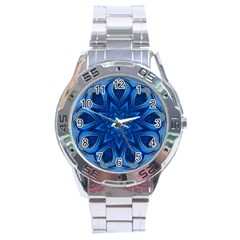 Blue Blossom Mandala Stainless Steel Analogue Watch by designworld65