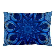Blue Blossom Mandala Pillow Case (two Sides) by designworld65