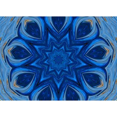 Blue Blossom Mandala Birthday Cake 3d Greeting Card (7x5) by designworld65