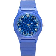 Blue Blossom Mandala Round Plastic Sport Watch (s) by designworld65