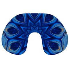 Blue Blossom Mandala Travel Neck Pillows by designworld65
