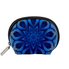 Blue Blossom Mandala Accessory Pouches (small)  by designworld65