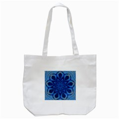 Blue Blossom Mandala Tote Bag (white) by designworld65