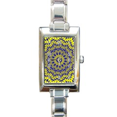Yellow Blue Gold Mandala Rectangle Italian Charm Watch by designworld65
