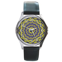 Yellow Blue Gold Mandala Round Metal Watch
