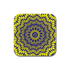 Yellow Blue Gold Mandala Rubber Coaster (square)  by designworld65