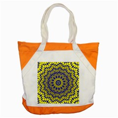 Yellow Blue Gold Mandala Accent Tote Bag by designworld65