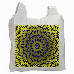 Yellow Blue Gold Mandala Recycle Bag (two Side)  by designworld65