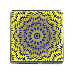 Yellow Blue Gold Mandala Memory Card Reader (square) by designworld65