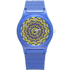 Yellow Blue Gold Mandala Round Plastic Sport Watch (s) by designworld65
