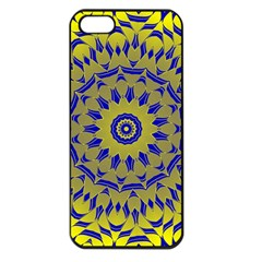 Yellow Blue Gold Mandala Apple Iphone 5 Seamless Case (black) by designworld65