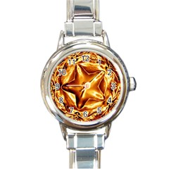 Elegant Gold Copper Shiny Elegant Christmas Star Round Italian Charm Watch