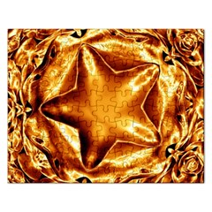 Elegant Gold Copper Shiny Elegant Christmas Star Rectangular Jigsaw Puzzl by yoursparklingshop