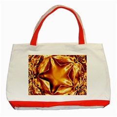 Elegant Gold Copper Shiny Elegant Christmas Star Classic Tote Bag (red) by yoursparklingshop