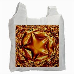 Elegant Gold Copper Shiny Elegant Christmas Star Recycle Bag (one Side) by yoursparklingshop