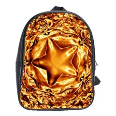 Elegant Gold Copper Shiny Elegant Christmas Star School Bags(large)  by yoursparklingshop