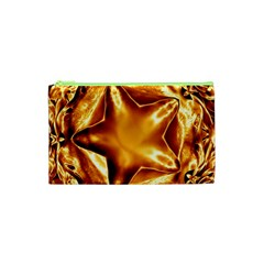 Elegant Gold Copper Shiny Elegant Christmas Star Cosmetic Bag (xs) by yoursparklingshop