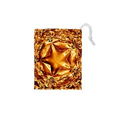 Elegant Gold Copper Shiny Elegant Christmas Star Drawstring Pouches (xs)  by yoursparklingshop