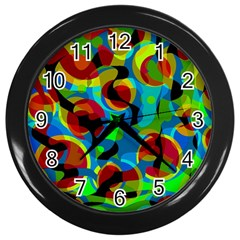 Colorful Smoothie  Wall Clocks (black) by Valentinaart