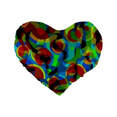 Colorful Smoothie  Standard 16  Premium Flano Heart Shape Cushions by Valentinaart