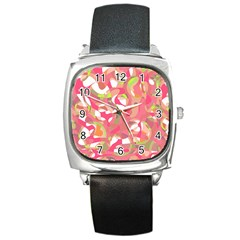 Pink Smoothie  Square Metal Watch by Valentinaart