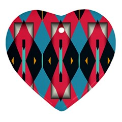 Triangles Stripes And Other Shapes                                                                                                         			ornament (heart) by LalyLauraFLM