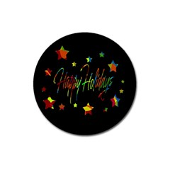 Happy Holidays Magnet 3  (round) by Valentinaart