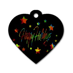 Happy Holidays Dog Tag Heart (one Side)