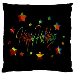 Happy Holidays Large Flano Cushion Case (one Side) by Valentinaart