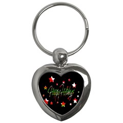 Happy Holidays 2  Key Chains (heart)  by Valentinaart