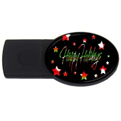 Happy Holidays 2  Usb Flash Drive Oval (4 Gb)  by Valentinaart