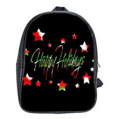 Happy Holidays 2  School Bags(large)  by Valentinaart