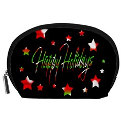 Happy Holidays 2  Accessory Pouches (large)  by Valentinaart