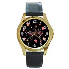 Happy Holidays 3 Round Gold Metal Watch by Valentinaart