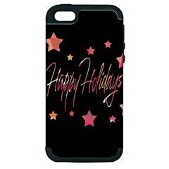 Happy Holidays 3 Apple Iphone 5 Hardshell Case (pc+silicone) by Valentinaart