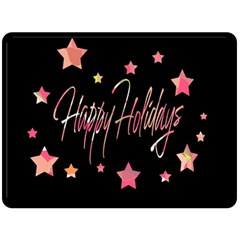 Happy Holidays 3 Double Sided Fleece Blanket (large)