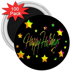 Happy Holidays 4 3  Magnets (100 Pack) by Valentinaart