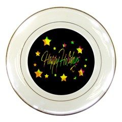 Happy Holidays 4 Porcelain Plates by Valentinaart