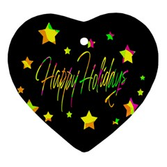 Happy Holidays 4 Heart Ornament (2 Sides) by Valentinaart