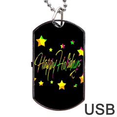 Happy Holidays 4 Dog Tag Usb Flash (one Side) by Valentinaart