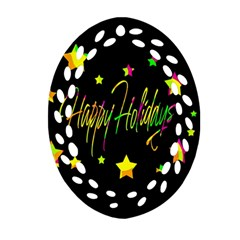 Happy Holidays 4 Oval Filigree Ornament (2 Side)  by Valentinaart