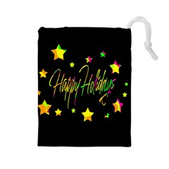 Happy Holidays 4 Drawstring Pouches (large)  by Valentinaart