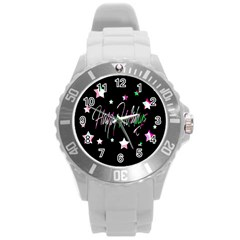 Happy Holidays 5 Round Plastic Sport Watch (l) by Valentinaart