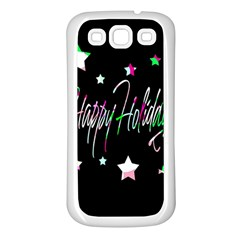 Happy Holidays 5 Samsung Galaxy S3 Back Case (white) by Valentinaart