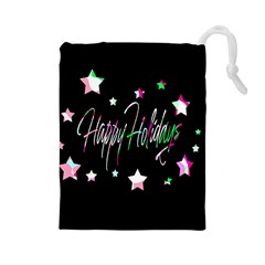 Happy Holidays 5 Drawstring Pouches (large)  by Valentinaart